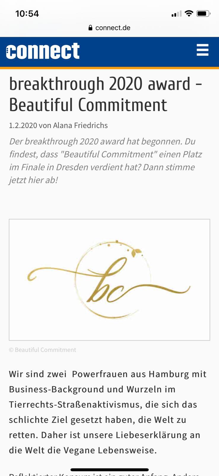Beautiful Commitment Breakthrough Award 2020